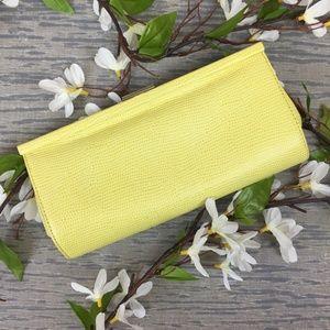 NWOT Banana Republic yellow leather clutch purse